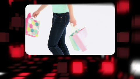 Happy women holding their shopping bags Stock Video Footage