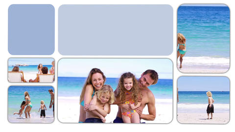 Happy families spending time on the beach and in a Animation
