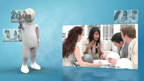 Robot presenting videos of business life Animation