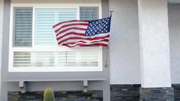 American flag on house Footage