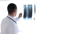 Young doctor examining xrays Stock Video Footage
