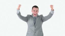 Victorious businessman Footage
