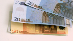 Euro notes in super slow motion moving Footage