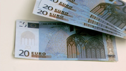 Euro notes in super slow motion rising up Footage