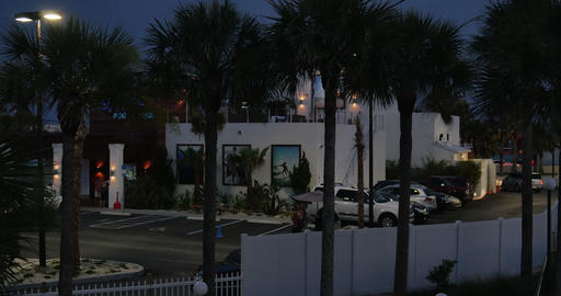 1811 Palm Trees with Restaurant in the the Backgro Stock Video Footage