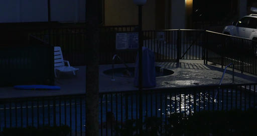 1812 Swimming Pool and Hot Tub at Night Establishi Footage