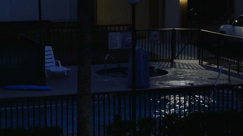 1812 Swimming Pool and Hot Tub at Night Establishi Stock Video Footage