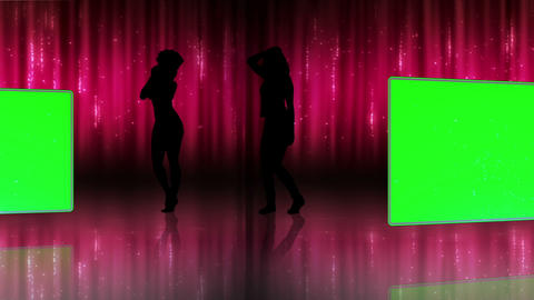 Silhouette of women dancing with screens in chroma Animation