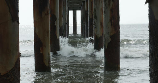 1814 Ocean Waves Crashing Under Pier, 4K Footage
