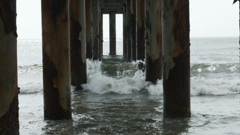1814 Ocean Waves Crashing Under Pier, HD Footage