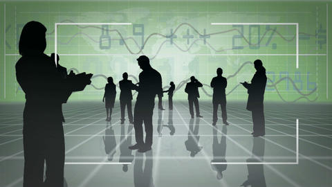 Business people silhouettes with video spaces Stock Video Footage