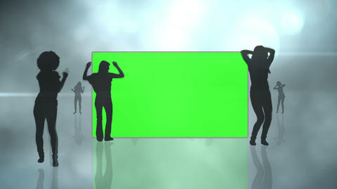 Chroma key screens with silhouette dancing Stock Video Footage