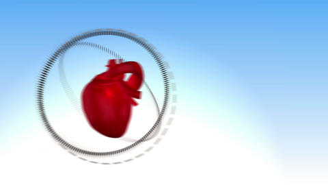 Video of a heart beating against sky background Animation