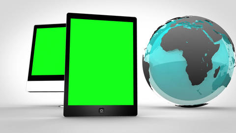 Multimedia devices with an Earth image courtesy of Stock Video Footage