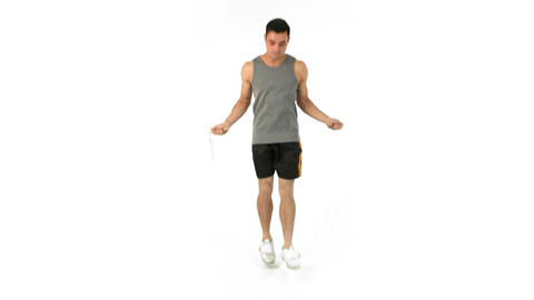 Man jumping with a skipping rope Footage
