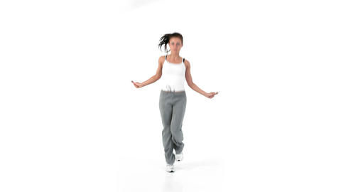 Woman jumping with a skipping rope Footage