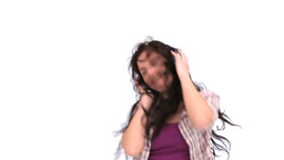 Woman dancing with her headphone Footage