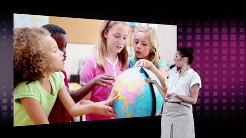Videos of children looking a globe with an Earth i Animation