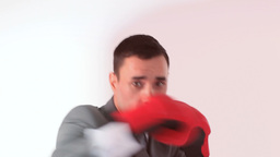 Businessman removing his stress by boxing Stock Video Footage