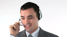 Businessman working in a call center Footage