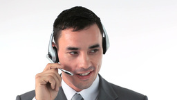 Businessman talking in a headset Stock Video Footage