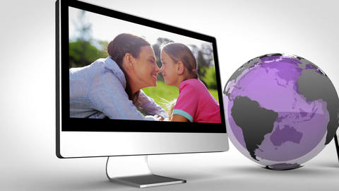 Video of multimedia with a purple Earth image courtesy of Nasa.org Animation