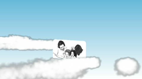 Videos of family in black and white in the sky Stock Video Footage