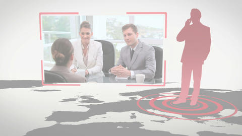 Video of business people in an office with Earth i Stock Video Footage