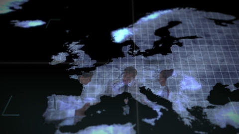 Business videos on a map of an Earth image courtes Stock Video Footage