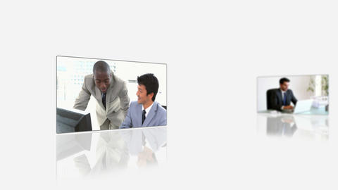 Videos of business people using laptop Animation