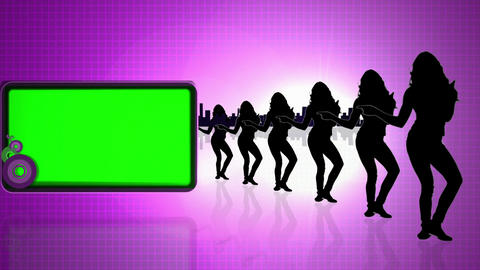 Green screens next to dancing silhouettes Stock Video Footage