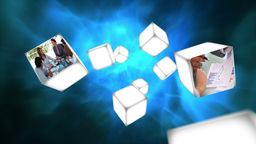 Business videos on cubes floating Animation