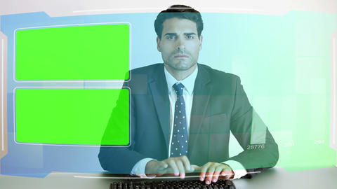 Business people looking at chroma key screens Animation