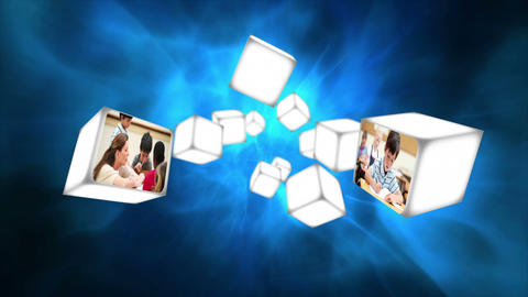 Video of a classroom on cubes floating Stock Video Footage