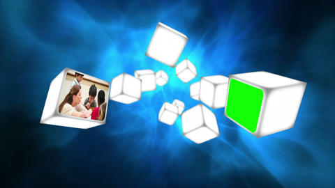 School videos on cubes Stock Video Footage