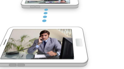 Cloud connected to smartphones with business video Animation
