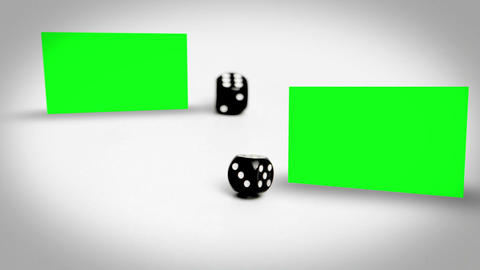 Dices Rolling Between Screens In Chroma Key stock footage