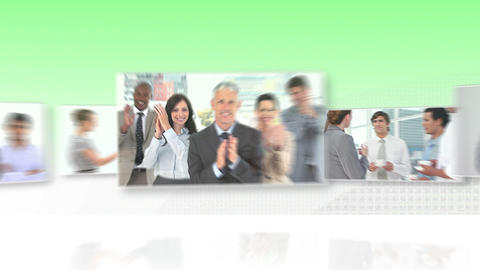 Moving screens with business videos Animation