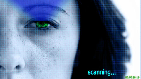 Eye scanner checking the the identity of a woman Animation