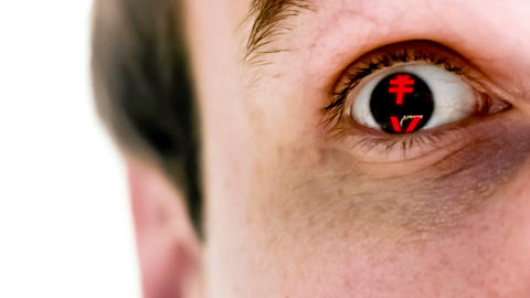 Man with yen symbol in his eye in slow motion Stock Video Footage