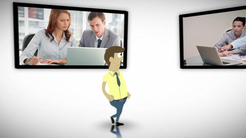 Screens of business people Animation