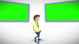 Chroma key screens with a character Animation