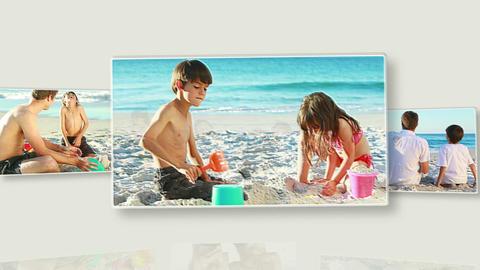 Family on the beach Animation