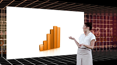 Classy woman presenting charts with an Earth image Animation