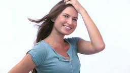 Woman posing against a white background Stock Video Footage