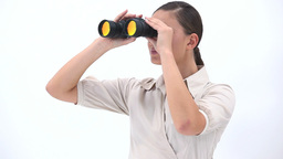 Businesswoman holding binoculars Stock Video Footage
