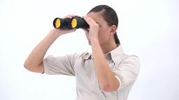 Businesswoman holding binoculars Footage