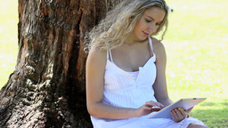 Woman sitting in a park using an ebook Footage