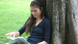 Woman reading a book while sitting against a tree Footage