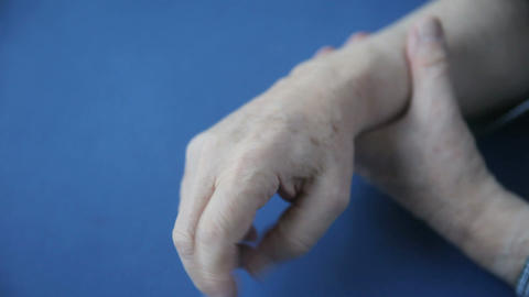Hand Numbness In Senior Man stock footage